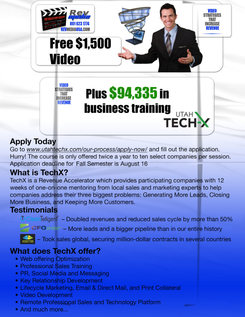 Free $1500 Video Plus $94,335 in business training from UtahTechX. Go to www.utahtechx.com/our-process/apply-now/ and fill out the application.